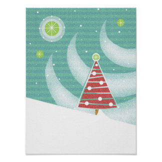 Snowy Red Christmas Tree and Lights with Star Posters
