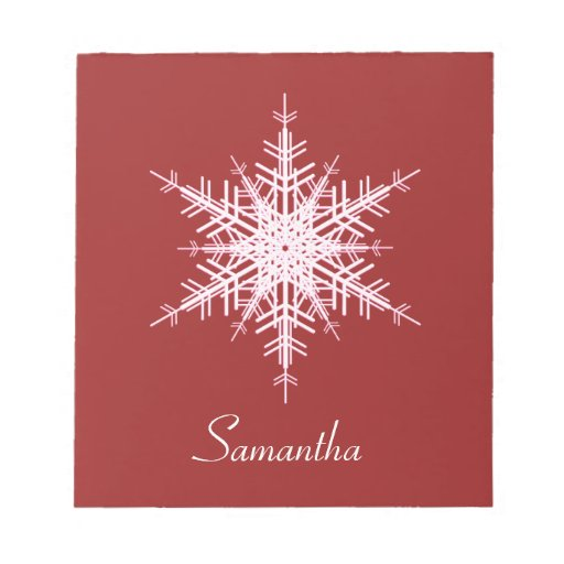Snowy Red Snowflake Notepad