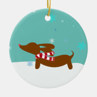 Snowy Reindeer Dachshund Tree Holiday Ornament