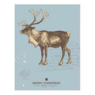 Snowy retro Christmas background Postcard