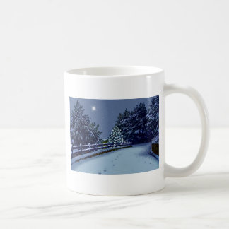 Snowy Road and Winter Trees Coffee Mugs