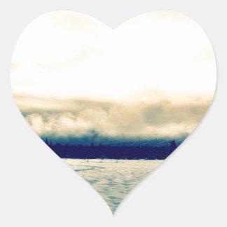 snowy road heart sticker