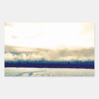 snowy road rectangular sticker