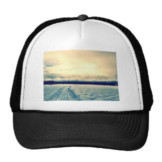 snowy road trucker hat