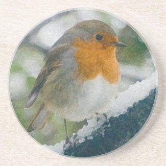 Snowy Robin Redbreast Coaster coaster
