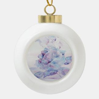 Snowy rose ceramic ball christmas ornament