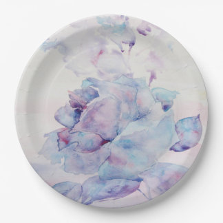 Snowy rose paper plate