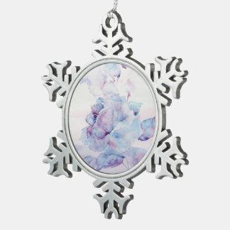Snowy rose snowflake pewter christmas ornament