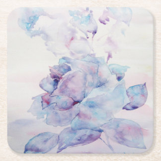 Snowy rose square paper coaster