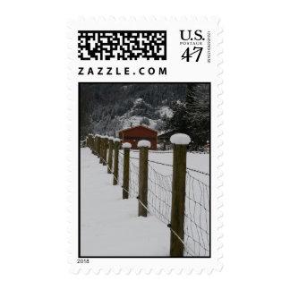 Snowy Rural Fenceline Postage