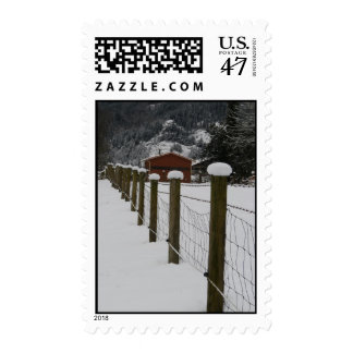 Snowy Rural Fenceline Postage Stamp
