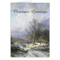Snowy Rural Landscape 1845 Christmas Card at Zazzle