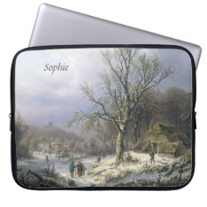 Snowy Rural Landscape, Daiwaille 1845 Computer Sleeve at Zazzle