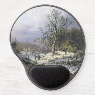 Snowy Rural Landscape, Daiwaille 1845 Gel Mouse Pad
