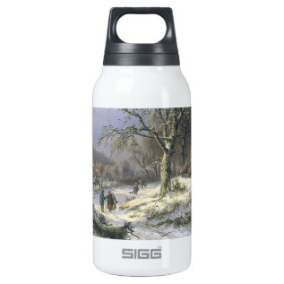 Snowy Rural Landscape, Daiwaille 1845 Insulated Water Bottle at Zazzle