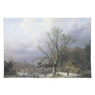 Snowy Rural Landscape, Daiwaille 1845 Placemat at Zazzle