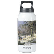 Snowy Rural Landscape, Daiwaille 1845 10 Oz Insulated SIGG Thermos Water Bottle at Zazzle