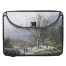 Snowy Rural Landscape, Daiwaille 1845 Sleeve For Macbooks at Zazzle