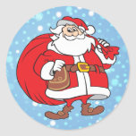 Snowy Santa and his big bag of gifts Classic Round Sticker