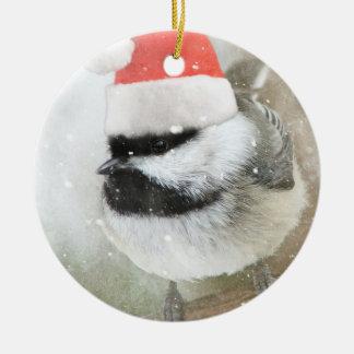Snowy Santa Chickadee Ceramic Ornament