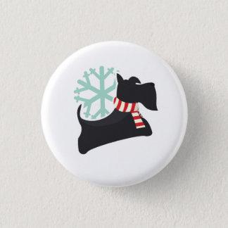 Snowy Scottie Dog Christmas Pattern Pinback Button