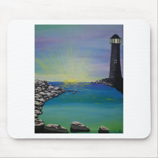 snowy seashore lighthouse mouse pad