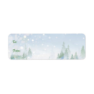 Snowy Self-Stick Christmas Gift Tag Label