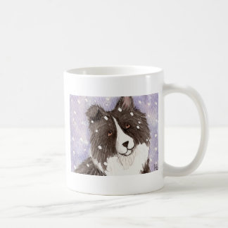 """Snowy Sheltie"" Bi Black Shetland Sheepdog Coffee Mug"