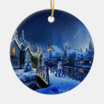 Snowy Shooting Star Double-Sided Ceramic Round Christmas Ornament