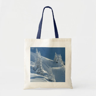 Snowy Slope and Pines Tote Bag
