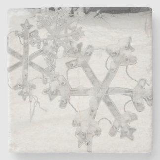 Snowy Snowflakes Stone Coaster