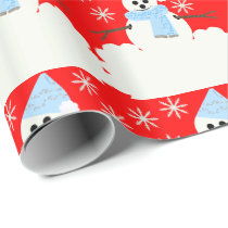Snowy Snowman Wrapping Paper