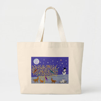 Snowy Snowy Night Canvas Tote Tote Bags