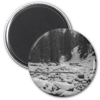 Snowy Soda Butte Creek in Yellowstone NP 2 Inch Round Magnet