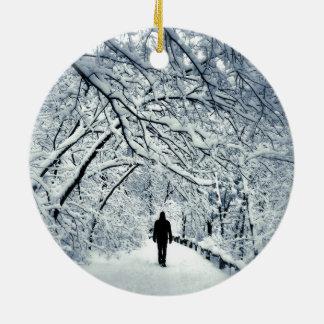 Snowy Solitude Ceramic Ornament