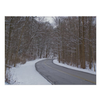 Snowy Spring Drive Poster