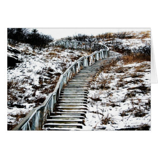 Snowy Staircase Greeting Card