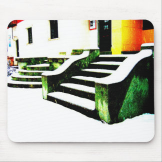 Snowy stairs mouse pad