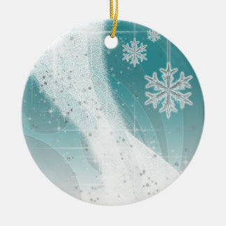Snowy Star Ribbon (aqua) customize Ceramic Ornament