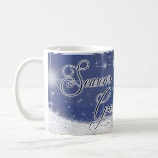 Snowy Star Ribbon blue Coffee Mug
