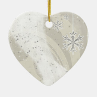 Snowy Star Ribbon (champagne) customize Ceramic Ornament