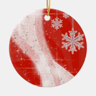 Snowy Star Ribbon (choose your color) customize Ceramic Ornament