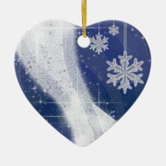 Snowy Star Ribbon (dark blue) customize Ceramic Ornament