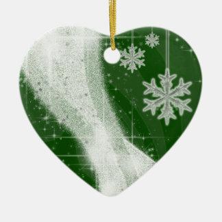 Snowy Star Ribbon (green) customize Ceramic Ornament