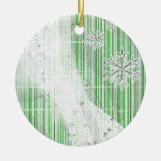 Snowy Star Ribbon (green peppermint) customize Ceramic Ornament