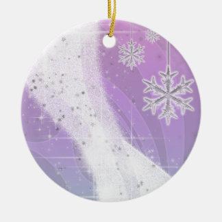 Snowy Star Ribbon (lavender & green) customize Ceramic Ornament