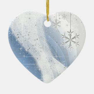 Snowy Star Ribbon (light blue) customize Ceramic Ornament
