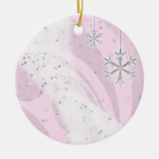 Snowy Star Ribbon (light pink) customize Ceramic Ornament