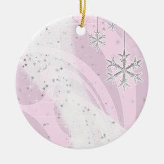 Snowy Star Ribbon (light pink) customize Christmas Tree Ornament