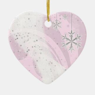 Snowy Star Ribbon (light pink) customize Ornaments